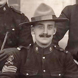 """Photograph of the """"Depot"""" Riding Master as a Sgt. - Tim Griffin.  Shortly after this photograph was taken, he was promoted to Sergeant Major (RCMP Historical Collections Unit - """"Depot"""" Division)."""