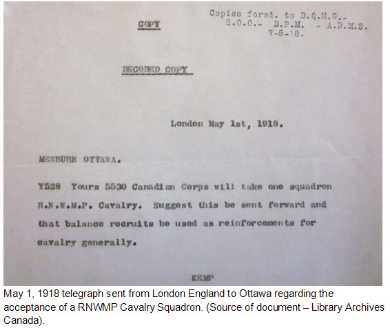 CEF telegraph acknowledging the creation of a RNWMP squadron (Source of document - Donald Klancher).