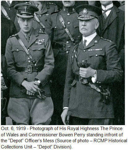 "October 6, 1919 - Regina: Photo of HRH Prince of Wales and RNWMP Commissioner Bowen Perry (Source of photo - RCMP Historical Collections Unit - ""Depot"" Division)."