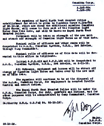 "Copy of the Canadian Expeditionary Force order outlining the creation of the  RNWMP Squadron and would hence be known as ""A"" Squadron RNWMP.  (Source of document – Canadian Archives of Canada)."