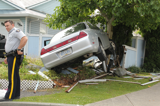 2011 - Surrey RCMP Detachment member tries to figure out what caused this accident.