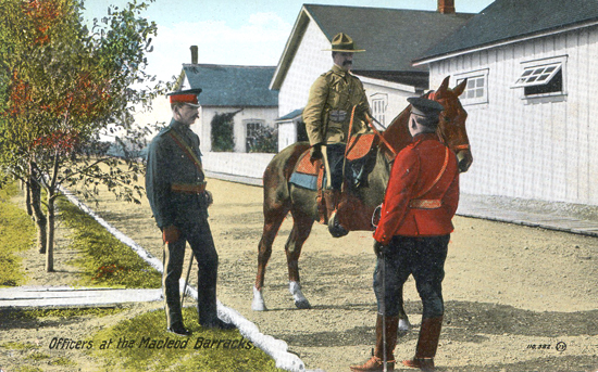Photograph of three RNWMP members: doctor on left; officer on the right and mounted member (Source of photo - Ric Hall's photo collection).