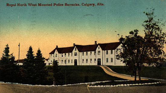 Post card of the Royal North West Mounted Police barracks at Calgary (Source of photo - Ric Hall's Photo Collection).