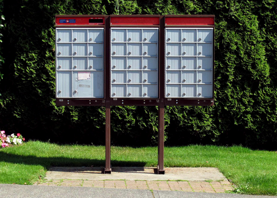 Photograph of a typical Canada Post Super Mail Box Community Centre. (Source of photo - Sheldon Boles)