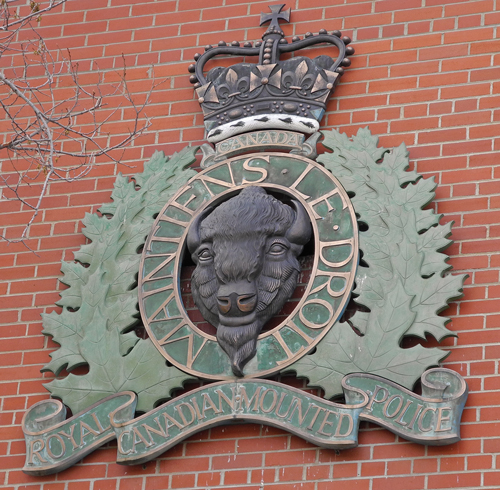 "Photograph of the RCMP Crest which is mounted on the east side of ""B"" Block at RCMP Depot Division in Regina (Source of photo - Sheldon Boles)."