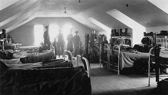 "1920 - Photograph of RCMP members in ""B"" Block dorm (Source of photo - Ric Hall's Photo Collection)."