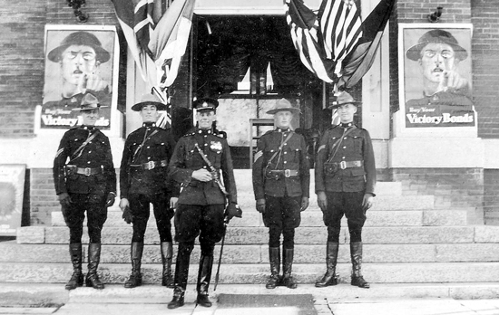Photograph of RNWMP members standing outside a World War I Recruiting Station (Source of photo - Ric Hall's Photo Collection).