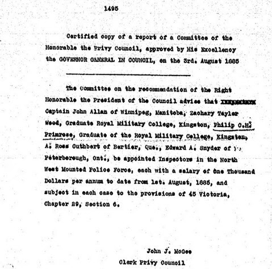 1885 - Canadian government's appointment of new North West Mounted Police Commissioned Officers (Source of image - NWMP Personal File of Supt. Philip Primrose)