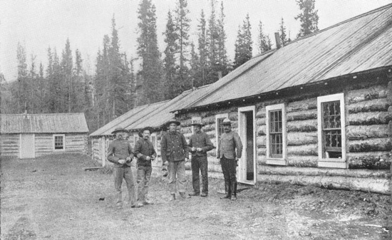 Photograph of NWMP members at Tagish Detachment in the Yukon.