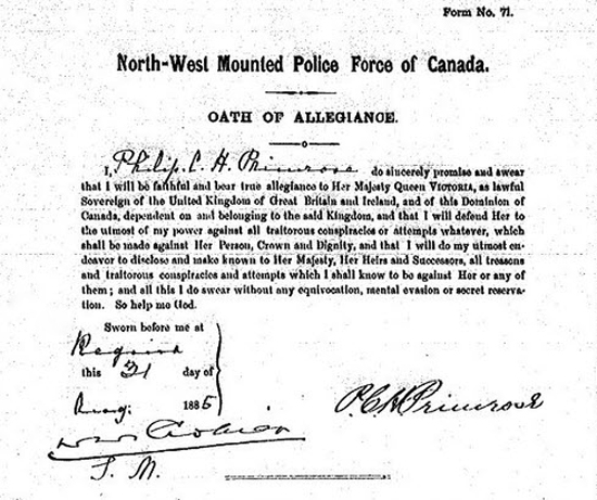 1885 - NWMP Oath of Allegiance signed by Insp. Philip Primrose (Source of image - NWMP Personal File of Supt. Philip Primrose).
