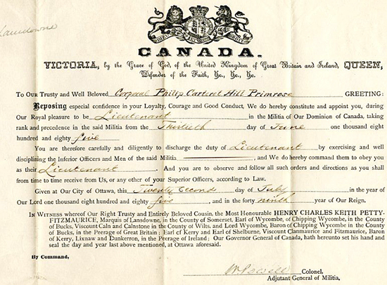 """1885 - Queen's Commission to Corporal Philip Primrose (Source of  image - RCMP Historical Collections Unit - """"Depot"""" Division)."""