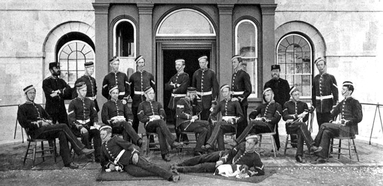 1882 - Photograph of the original 18 graduates from the Royal Military College of Canada.  Bowen Perry was a member of this class and later became the Commissioner of the North West Mounted Police, Royal North West Mounted Police and Royal Canadian Mounted Police (Source of image - Royal Military College - Kingston Ontario).
