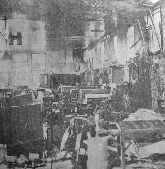 1963 - Photograph of the destruction created by prisoners during the June 19-20, 1963 riot at the BC Penitentiary.