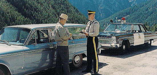 1960s - Photograph of a RCMP roadside check in British Columbia (Source of photo - Ric Hall's Photo Collection).