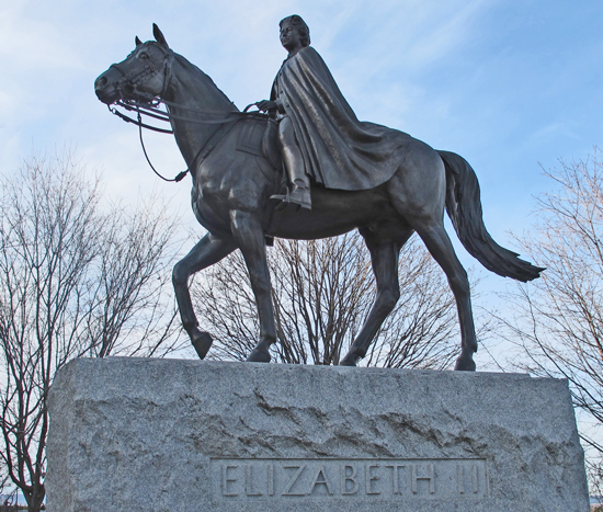 Photograph of the bronze statute of Queen Elizabeth II on the RCMP horse Burmese. Statute situated on Parliament Hill in Ottawa (Source of photo - Sheldon Boles).