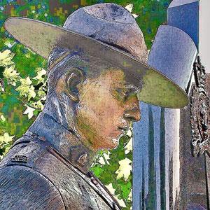 "Photograph of RCMP member statue - ""E"" Division Memorial (Source of photo - Sheldon Boles)"