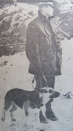 Photograph of RCMP Dog Services handler - Constable George Hawkins from Cloverdale Detachment (Source of photo - Vancouver Sun Newspaper).