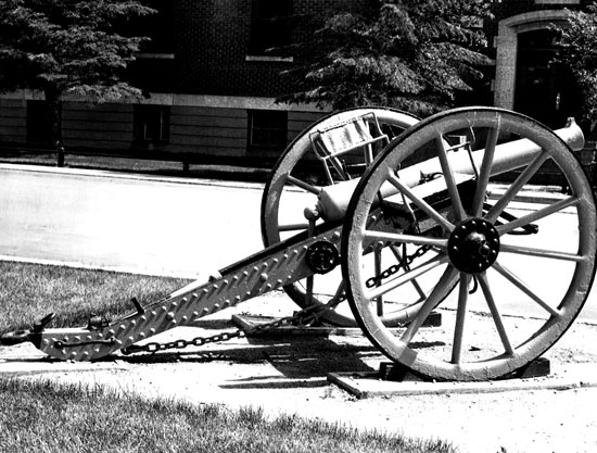 "Photograph of a Force 9-pounder artillery on display at ""Depot"" Division in Regina (Source of photo - Ric Hall's Photo Collection)."