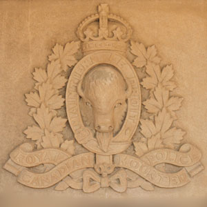 "Photograph of the ""Depot"" Division Hall's RCMP King's Crown crest (Source of photo - Sheldon Boles)."