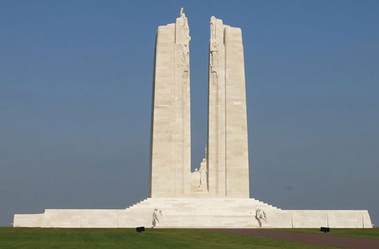 Photograph of the Vimy Ridge memorial in France (Source of photo - Sheldon Boles).