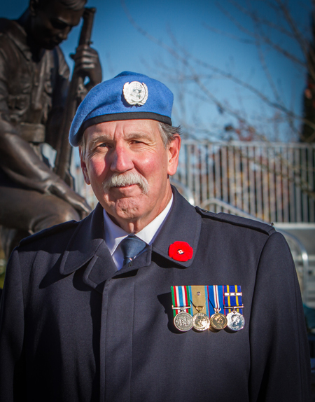 Photograph of RCMP Veteran Al Mullin attending the Cloverdale Memorial Service on November 11, 2014 (Source of photo - Sheldon Boles).