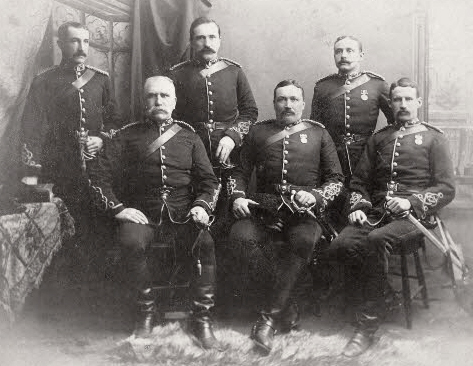 """Photograph of NWMP Officers (Source of photo - RCMP Historical Collections Unit - """"Depot"""" Division)."""