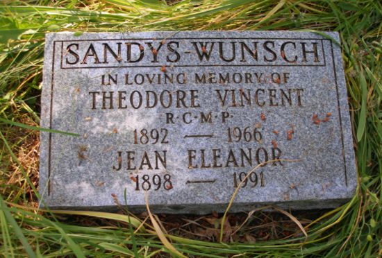 Photograph of the grave marker for Assistant Commissioner Theodore Vincent Sandys-Wunsch.