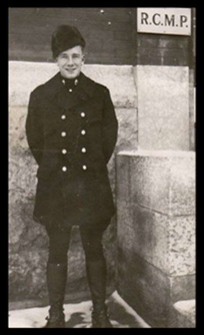 Photograph of young RCMP Constable Bernie Barker (Source of photo - Ric Hall's Photo Corner).