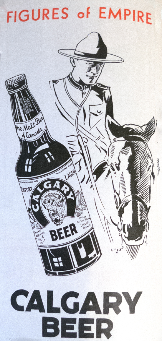 1939 image of a Mountie image beside a Calgary bottle of beer (Source of image - Ric Hall's Photo Collection).