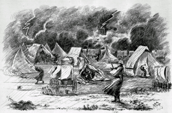Illustration of the August 1874 storm during the NWMP March West.