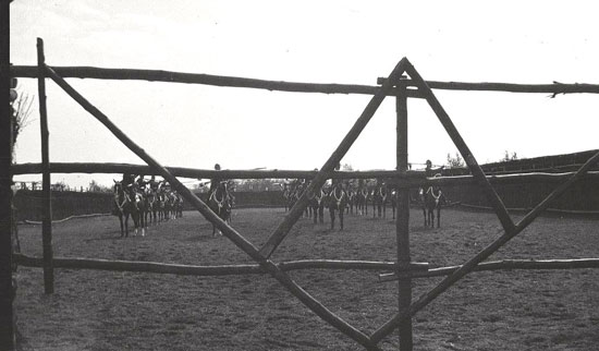 1922 - Photograph of RCMP members practising lance drill in preparation for a Musical Ride demonstration (Source of Ione Christensen).