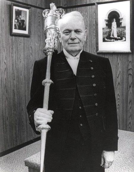 "Photograph of Gordon Cameron as the ""Sergeant-of-Arms"" for the Yukon Legislature (Source of photo - Ione Christensen)."