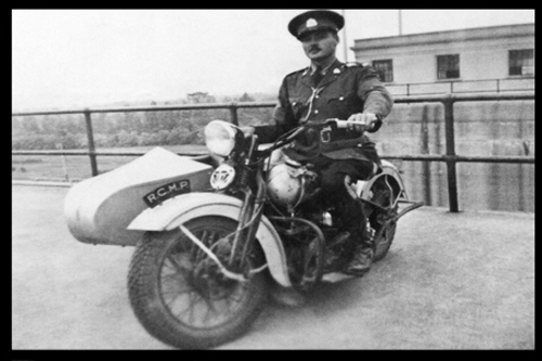 1939 Photograph of an RCMP motorcycle escort for the Royal Visit to Canada (Source of photo - Ric Hall's Photo Collection).