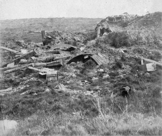 1916 - Photograph after the battle of Battle of Mont Sorrel.  Photo illustration created by the German artillery.