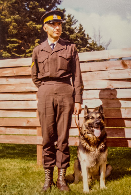 Photograph of RCMP Corporal John Stolarski as a Police Dog Handler and his trusted partner. (Source of photo - Mildred Stolarski).