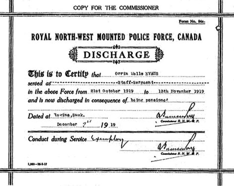 Copy of the North West Mounted Police Discharge Certificate for Orrin Wells Evans (Source of image - Library Archives Canada - NWMP Personal Files).