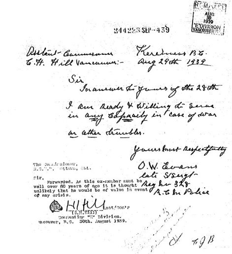 1939 - Copy of Orrin Evans' volunteer message to the Commissioner of the RCMP  (Source of copy - Library Archives Canada - NWMP Personal Files).