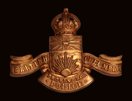 Photograph of the British Columbia Provincial Police cap badge (Source of photo - Sheldon Boles).