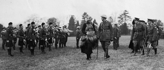 Hamilton Gault and Princess Patricia inspect the newly-formed regiment in Ottawa, prior to the PPCLI's voyage to Europe to fight in the First World War (Source of  photo - Ric Hall's Photo Collection).