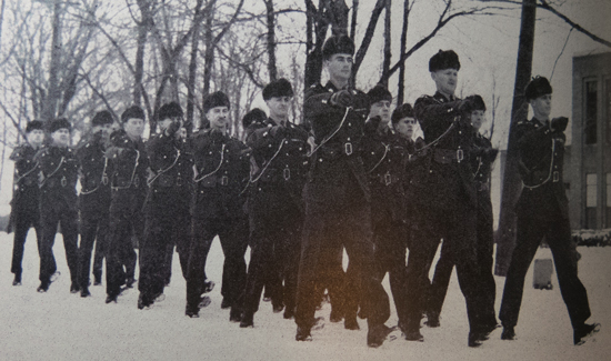 "1946 - RCMP Recruits at ""Depot"" Division - Many hours of drill teaches the recruit discipline and how to carry himself in uniform (RCMP Quarterly)"
