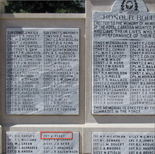 """Photograph of the RCMP Cenotaph at """"Depot"""" Division."""