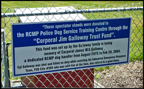 RCMP Police Service Dog Training Centre sign.