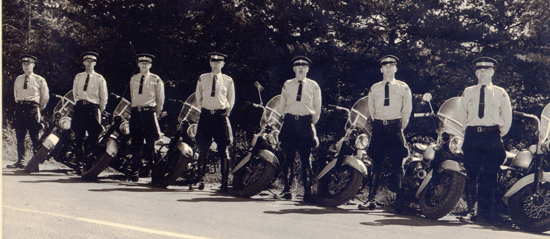 1950s Photograph of the RCMP Cloverdale motorcycle course participants (Source of photo - Ric Hall's Photo Collection).
