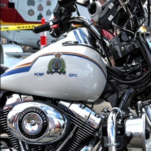 Photograph of a RCMP motorcycle harley davidson