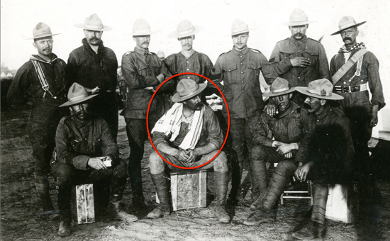 "Photograph of members of the Canadian Mounted Rifles in South Africa. Walter de Rossiter is circled in red (Source of photo - RCMP Historical Collections Unit - ""Depot"" Division)."