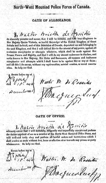 Copy of the NWMP document outlining the two oaths sworn by Walter Rixo de Rossiter (Source of document - Archives Of Canada).
