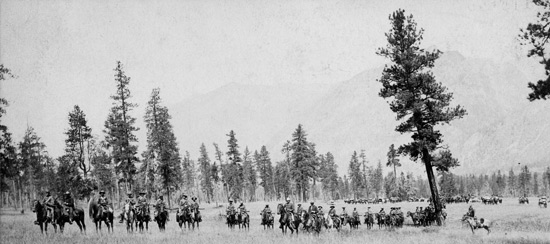 """1888 - Photograph of Supt. Sam Steele and other members of """"D"""" Division arriving in the Kootneys (Source of photo - RCMP Historical Collection Unit - """"Depot"""" Division)."""