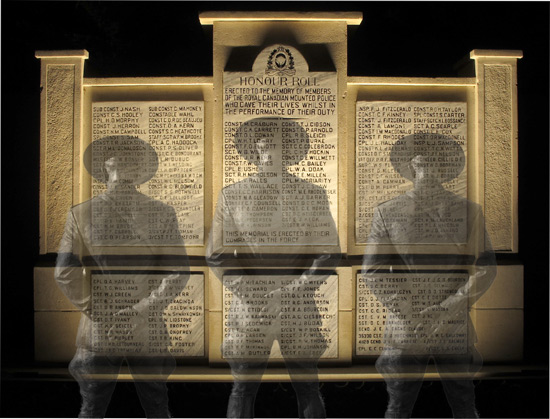 Ghosts of past RCMP Veterans honouring the fallen members who dedicated their service to Canada and their communities (Source of photo - Sheldon Boles).