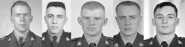 Photograph of Cpl.Herbert Smart, Cst. Maurice Melnychuk, Cst. Glen Farough, Cst. David Perry and Cst. George Ransom.