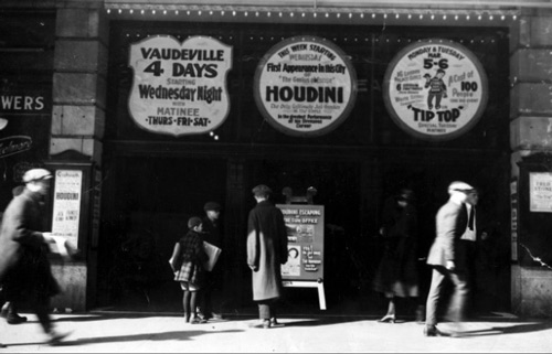 1923 - Photograph of the marquee at the Orpheum announcing the first appearance in this city of Harry Houdini - the Genius of Escape.